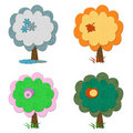 Set of felt seasonal trees Stock Photo