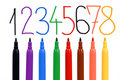 Set of felt-tip pens of different colors and numbe Royalty Free Stock Photography