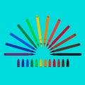 Set of felt-tip pens, red, green, yellow, purple, brown, black, biscuit, orange, chlorine, blue, mazarine. Vector art