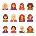 Set of female avatars
