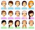 Set of female avatars in headphones.