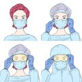 Set with female doctors in disposable medical surgical face masks, safety glasses, rubber gloves and a protective suit.