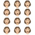 A set of female emotions on face character design cartoon brown-haired hair and a variety of expressions.