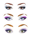 Set of female eyes and brows image with beautifully fashion make up fashion illustration green eyes blue eyes brown eyes Stock Photography