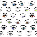 Set of female eyes and brows seamless vector pattern illustration for health glamour design blue green brown colors close Royalty Free Stock Images