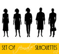 Set of female silhouettes Stock Photography