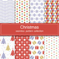 Set of festive backgrounds. Seamless patterns in blue, red, gold color.