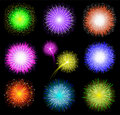 Set of festive colored fireworks on black backgrou Stock Photos