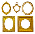 Set of few luxury gilded frames isolated over white background with clipping path Stock Photos