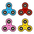 Set of fidget spinners of different colors Most popular toys for stress relief Isolated vector illustration.
