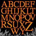 Set of Fiery letters isolated Stock Images