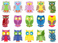 Set of fifteen colourful owls vector with lace ornamental bodies and without contour lines isolated on white background Royalty Free Stock Image