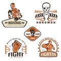 Set of fighting club emblems, MMA