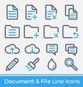 Set of File and Directory Management Line Icons Design