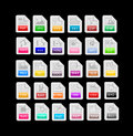 Set of file format extensions icons isolated on black background Stock Photo