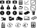 Set of financial icons vector in black and white Stock Photos