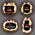 Set of fire flame labels vector design. Can be used for price and sale, deal and offer, special tag or badge, hot offer Royalty Free Stock Photo