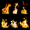 Set of fire flames isolated black background Royalty Free Stock Photo