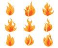 Set of Fire, Flames Vector
