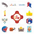 Set of fire station, ap, bird nest, antelope, french bulldog, democratic party, badminton, royal, no.1 icons Royalty Free Stock Photo