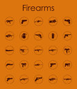 Set of firearms simple icons it is a web Stock Images