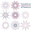 A set of fireworks on Independence Day of America. Colorful fireworks set  on white background Royalty Free Stock Photo