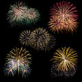 Set of fireworks isolated on black Royalty Free Stock Photo