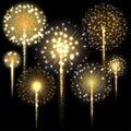 Set of fireworks. Vector illustration.