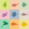 Set of fish icons on the turnovers Royalty Free Stock Photos