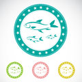 Set of fish label on white background Royalty Free Stock Photography