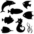 Set fish silhouettes isolated white Royalty Free Stock Photo
