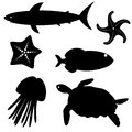 Set of fish silhouettes isolated on white Royalty Free Stock Photos