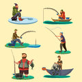 Set of fisherman catches fish sitting on boat and off shore,fisher threw fishing rod into water, happy fishman holds Royalty Free Stock Photo