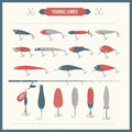 Set of Fishing equipment in flat style