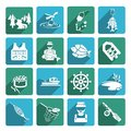 Set of fishing icons fish fisher hobby leisure white on blue and green squares isolated on white vector illustration Stock Photo