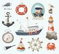 Set of fishing items