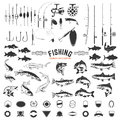 Set of Fishing labels design elements. Rods and  fish icons. Des Royalty Free Stock Photo
