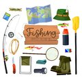 Set with fishing supplies for active outdoor rest Royalty Free Stock Photo