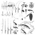 Set of fishing tools, river fish icons, equipment for fishing.