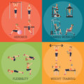 Set of fitness aerobic strength and body shaping exercises.