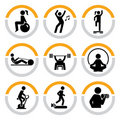 Set of Fitness Pictograms in Semicircles Stock Photo