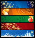 Set of five Christmas  banners Royalty Free Stock Photos