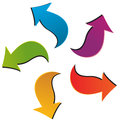 Set of five colorful arrows for your ideas Stock Photo