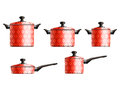 Set of five cooking pots red painted with flower pattern eps Stock Photography
