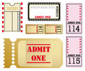 Set of five different movie tickets Royalty Free Stock Photo
