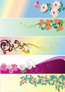 Set of five floral strips Stock Photo