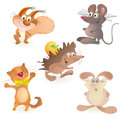 Set of five funny animals - mouse, rabbit, hedgeho Stock Photo