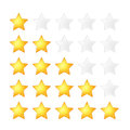 Set of five golden stars rating template on white Royalty Free Stock Photo