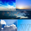 Set of five images of the sky with clouds Stock Photos