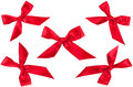 Set of five red ribbon bows in different position Stock Photo